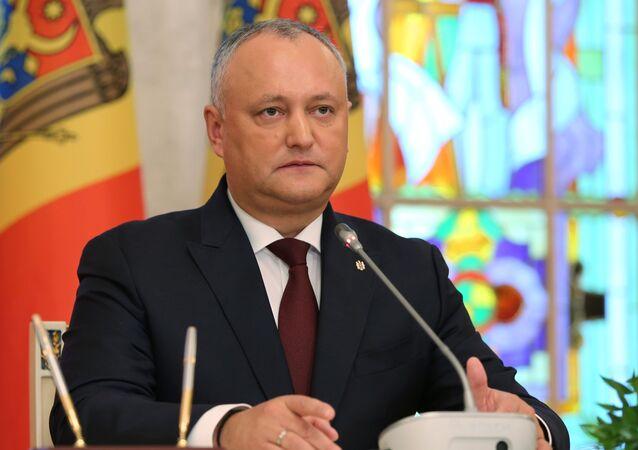Prezydent Mołdawii Igor Dodon podczas wspólnej konferencji w Kiszyniowie z prezydentem Turcji Recepem Tayyipem Erdoganem