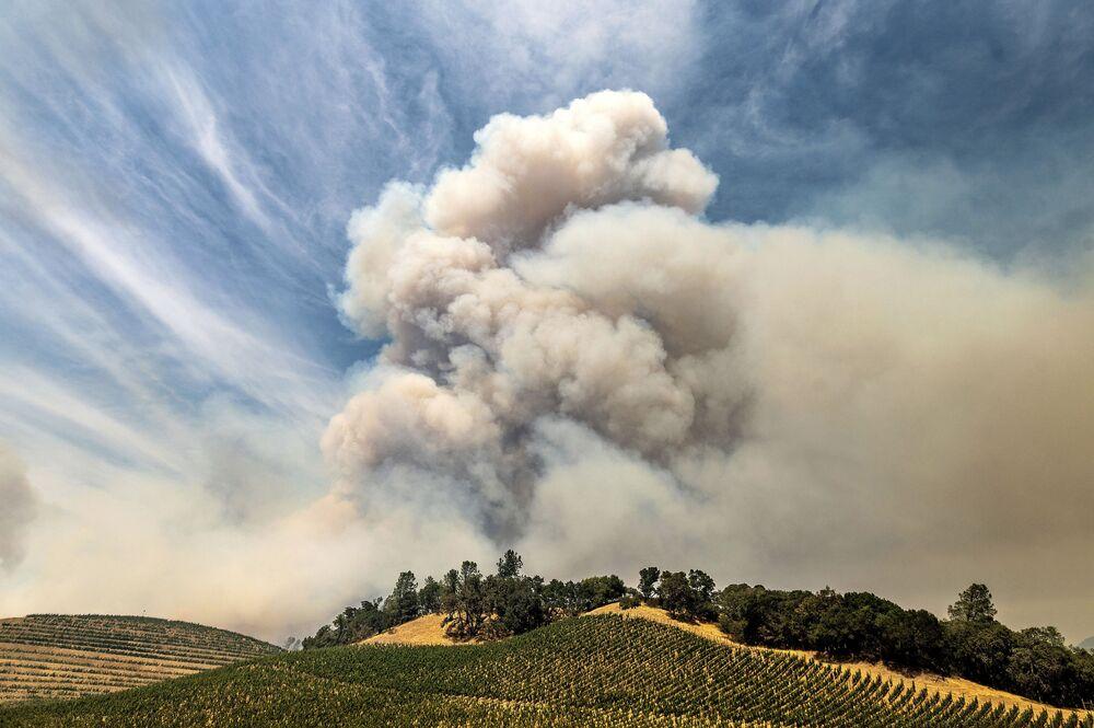 Dym z pożarów lasów w Kalifornii