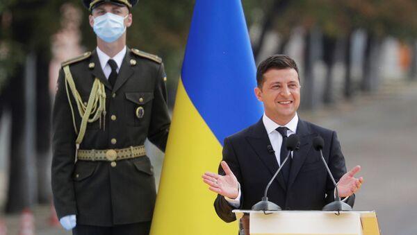 Prezydent Ukrainy Wołodymyr Zełenskij podczas obchodów 29-lecia niepodległości Ukrainy w Kijowie - Sputnik Polska