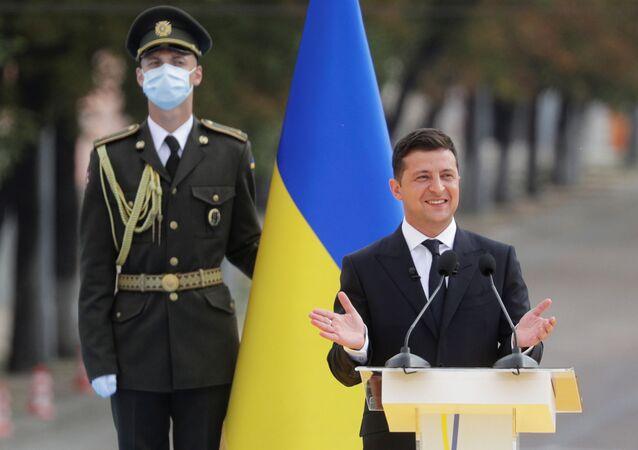 Prezydent Ukrainy Wołodymyr Zełenskij podczas obchodów 29-lecia niepodległości Ukrainy w Kijowie