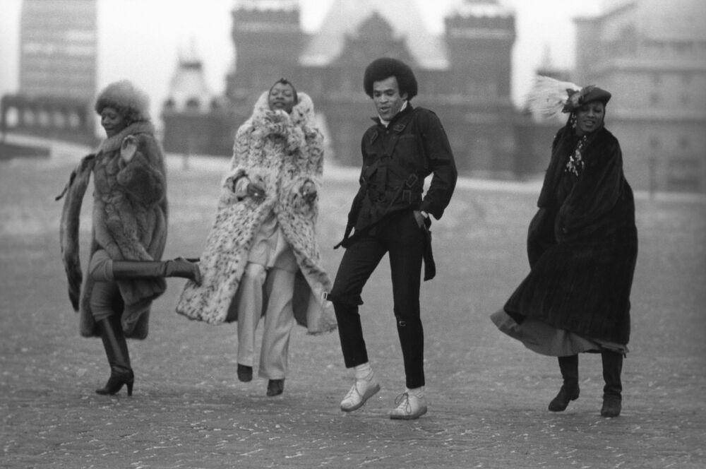 Artyści zespołu Boney M w Moskwie, 1978 rok