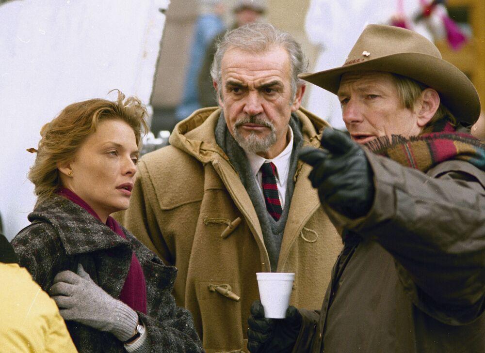 Michelle Pfeiffe i Sean Connery podczas produkcji filmu Wydział Rosja, 1989 rok