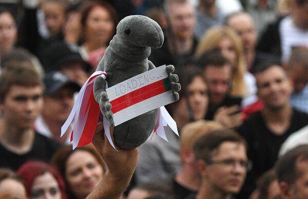 Zabawka w rękach uczestnika mitingu opozycji na Placu Niepodległości w Mińsku - Sputnik Polska