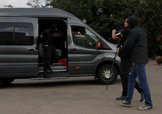 Grupę dziennikarzy zatrzymano w centrum Mińska.