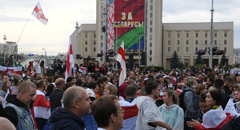 Wiec opozycji w Mińsku