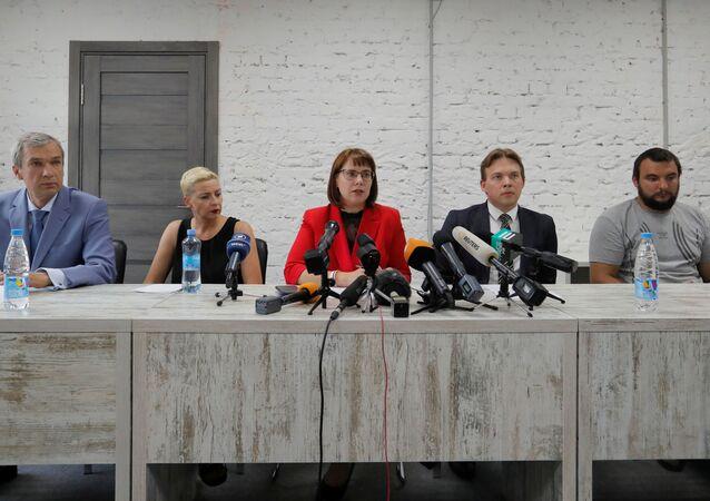 Przedstawiciele biaoruskiej Rady Koordynacyjnej: Paweł Łatuszka, Maria Kolesnikowa, Wolha Kawalkawa, Maksim Znak i Siergiej Dylewski