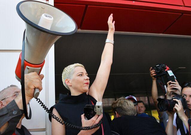 Maria Kolesnikowa na wiecu opozycji w Mińsku
