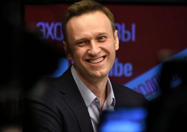 """Aleksiej Nawalny podczas wywiadu na antenie radia """"Echo Moskwy"""""""