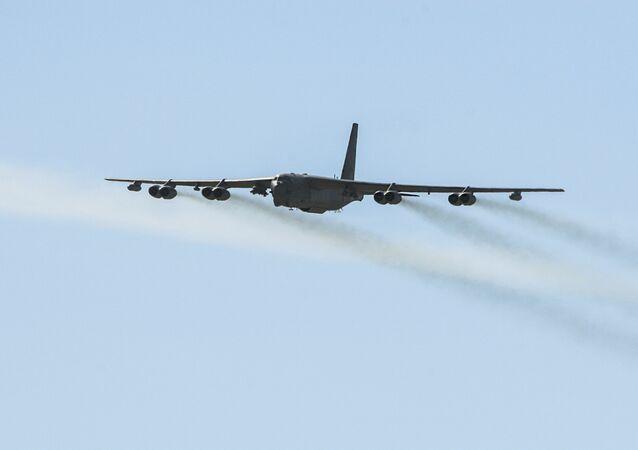 Amerykański bombowiec Stratofortress B-52. Archiwalne zdjęcie