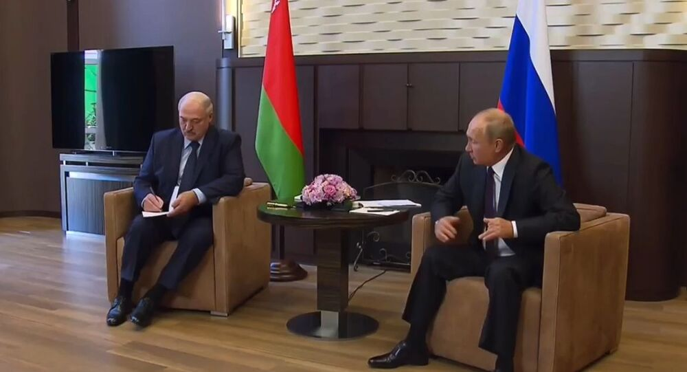 Władimir Putin i Alaksandr Łukaszenka podczas spotkania w Soczi