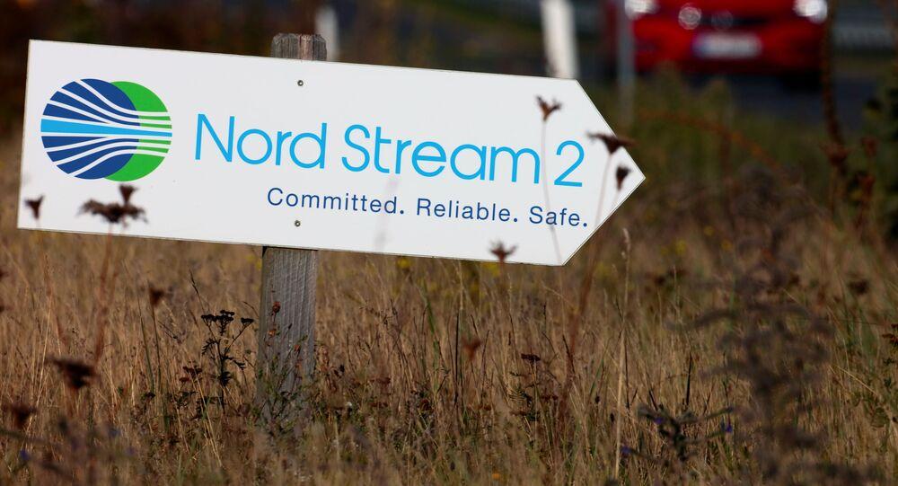 Tabliczka z napisem Nord Stream 2.