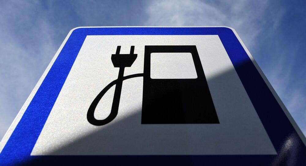 Znak dla stacji ładowania smochodów elektrycznych.