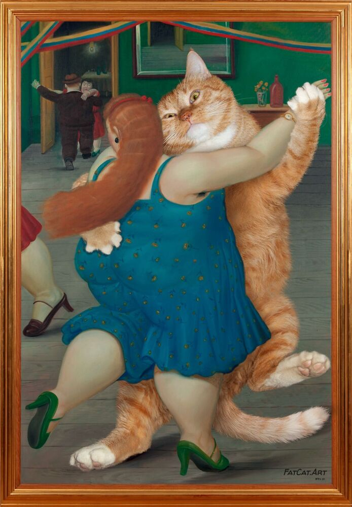 Fernando Botero z kotem Zaratustra w projekcie Svetlany Petrovej Fat Cat Art
