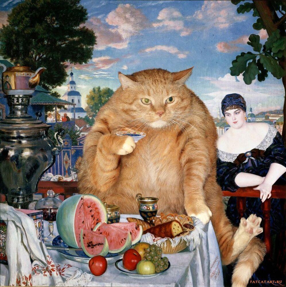 Boris Kustodiev z kotem Zaratustra w projekcie Svetlany Petrovej Fat Cat Art