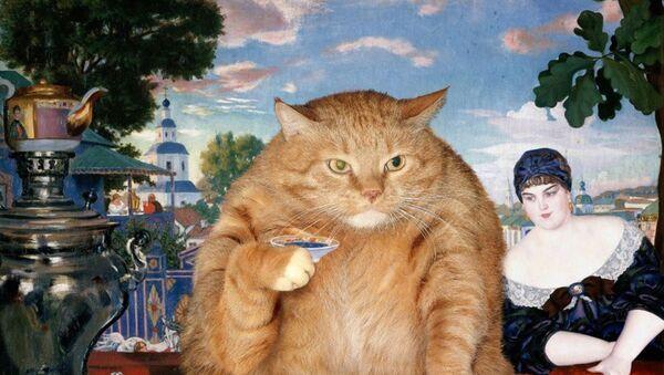 Boris Kustodiev z kotem Zaratustra w projekcie Svetlany Petrovej Fat Cat Art - Sputnik Polska