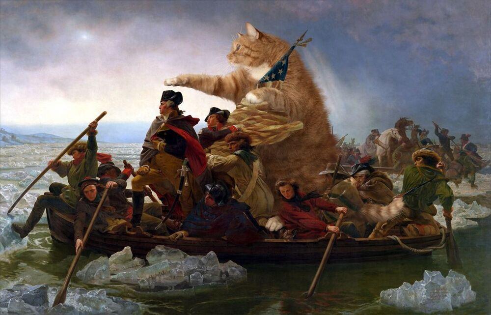 Leutze z kotem Zaratustra w projekcie Svetlany Petrovej Fat Cat Art