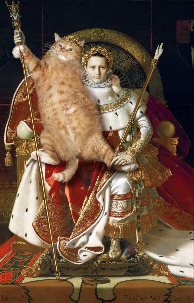 Jean Auguste Dominique Ingres z kotem Zaratustra w projekcie Svetlany Petrovej Fat Cat Art