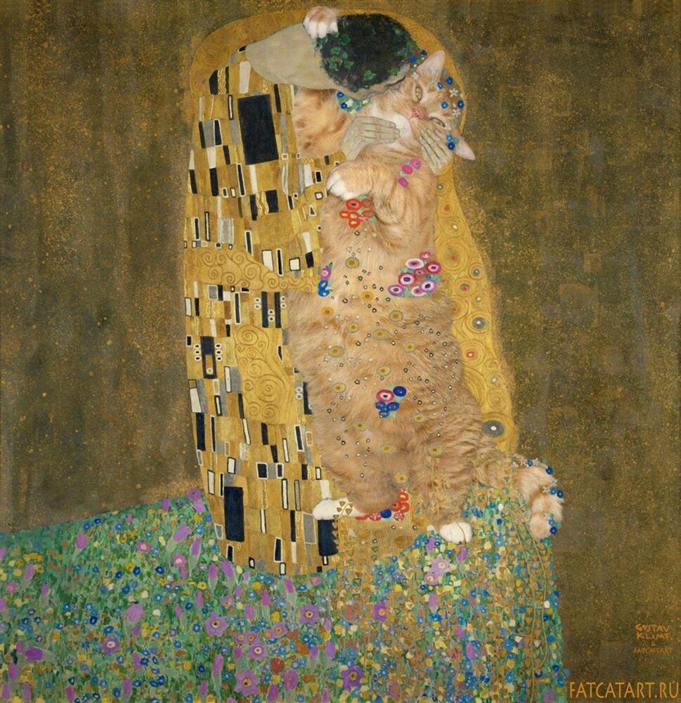 Gustav Klimt z kotem Zaratustra w projekcie Svetlany Petrovej Fat Cat Art