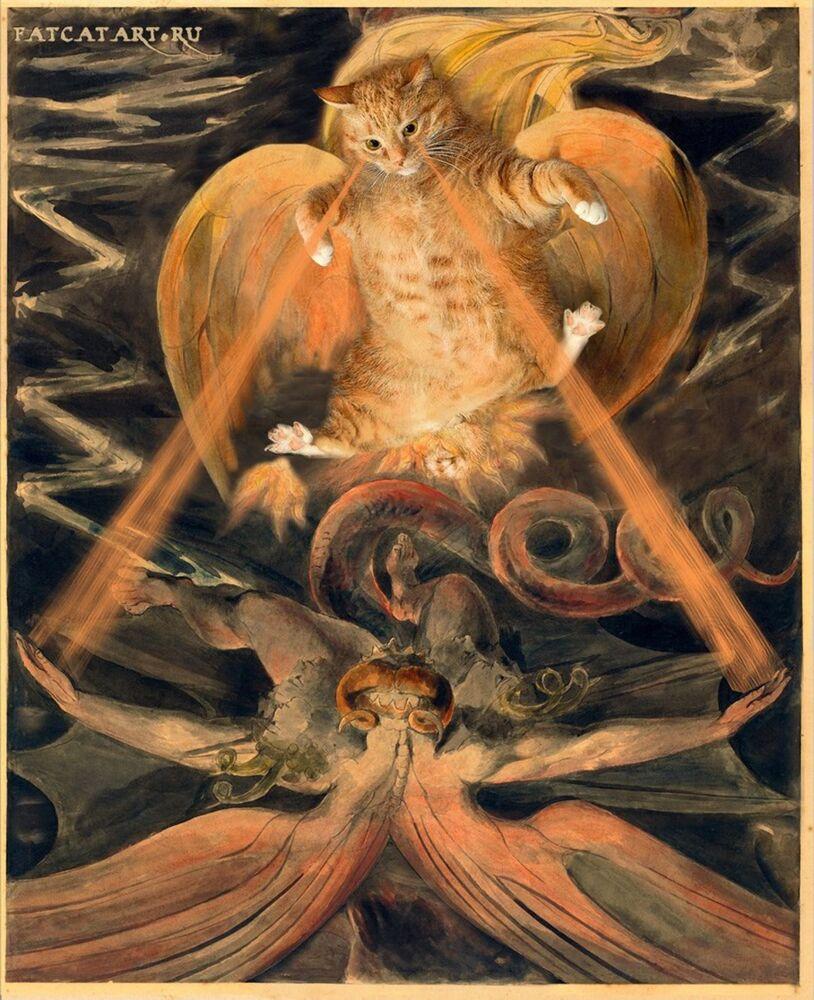 William Blake z kotem Zaratustra w projekcie Svetlany Petrovej Fat Cat Art