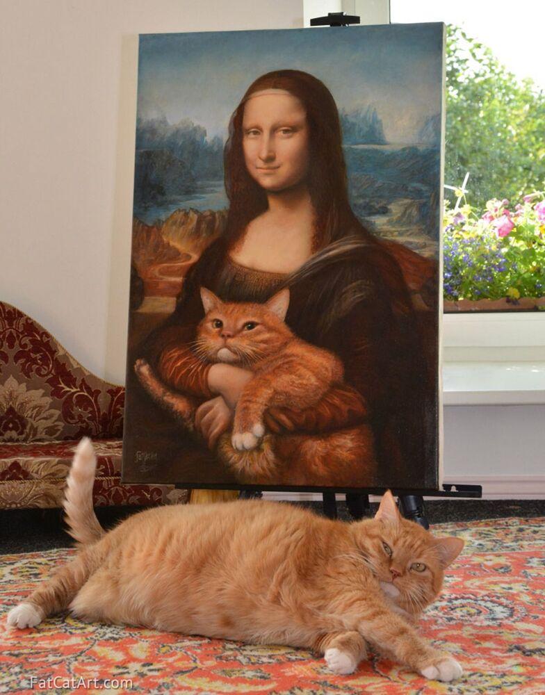 Mona Lisa z kotem Zaratustra w projekcie Svetlany Petrovej Fat Cat Art