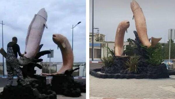 Rzeźba przedstawiająca ryby wyskakujące z wody w Maroku została zburzona, ponieważ według mieszkańców przypominała penisa - Sputnik Polska