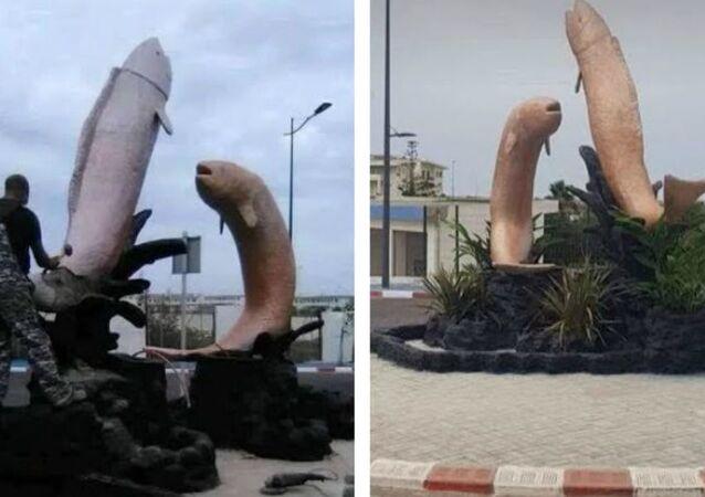 Rzeźba przedstawiająca ryby wyskakujące z wody w Maroku została zburzona, ponieważ według mieszkańców przypominała penisa