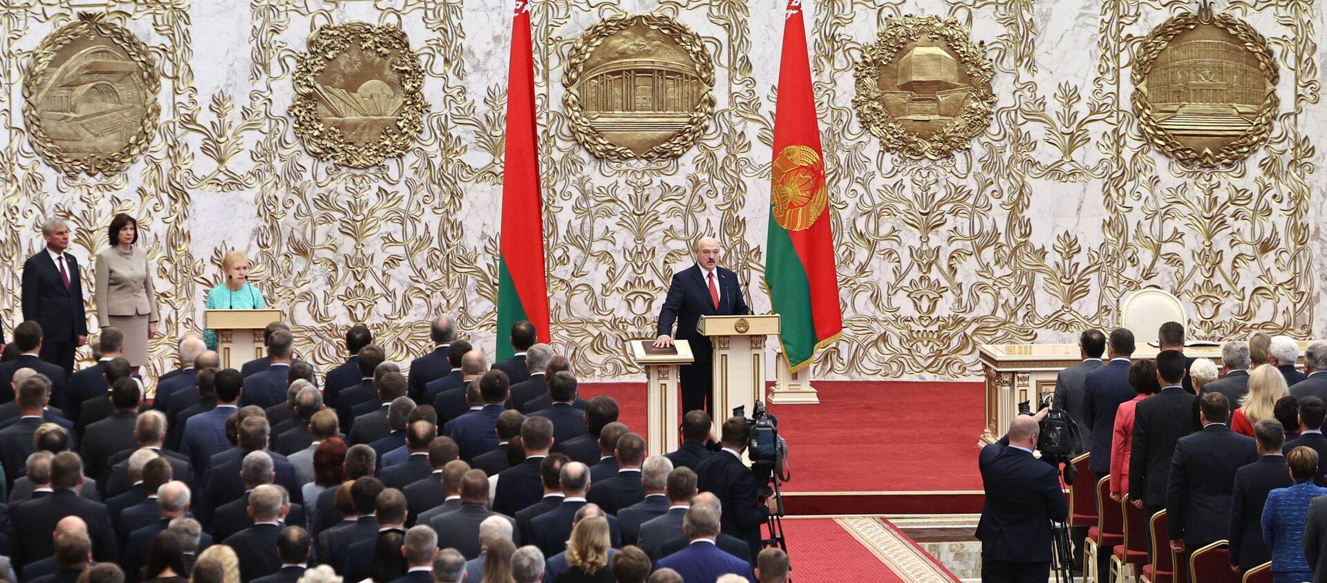 Alaksandr Łukaszenka podczas inauguracji na prezydenta Białorusi - Sputnik Polska, 1920, 21.01.2021