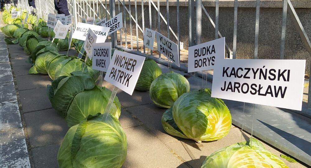 Kapuściane głowy przed Sejmem