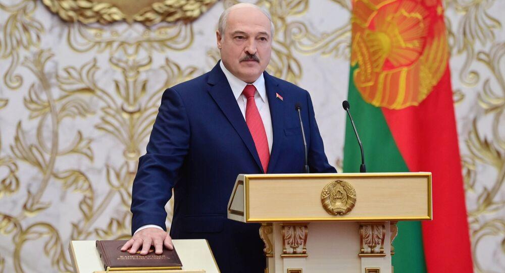 Alaksandr Łukaszenka podczas inauguracji.