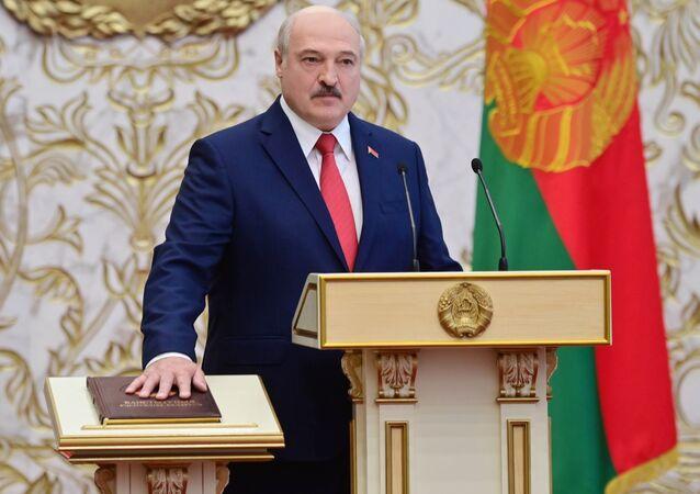 Alaksandr Łukaszenka podczas inauguracji
