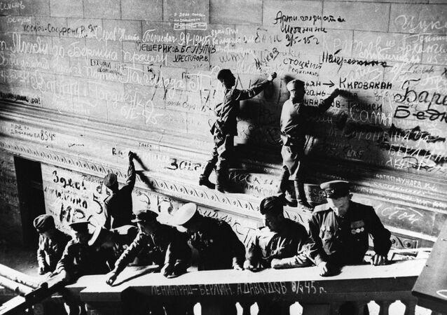 Zdobycie Reichstagu przez wojska radzieckie. Berlin 1945 r.