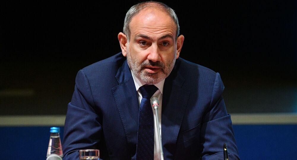Premier Armenii Nikol Paszynian na rozszerzonym posiedzeniu Eurazjatyckiej Rady Międzyrządowej.
