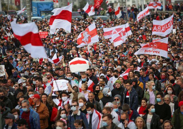 Protestujący w Mińsku, Białoruś