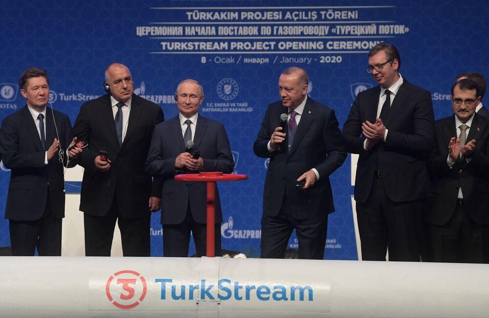 Prezydenci Rosji i Turcji podczas ceremonii otwarcia Tureckiego Potoku w Stambule
