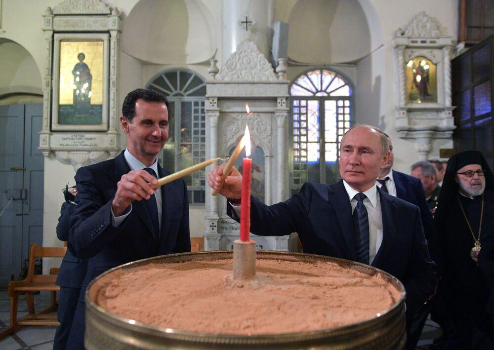 Prezydenci Rosji i Syrii w katedrze Najświętszej Bogurodzicy w Damaszku