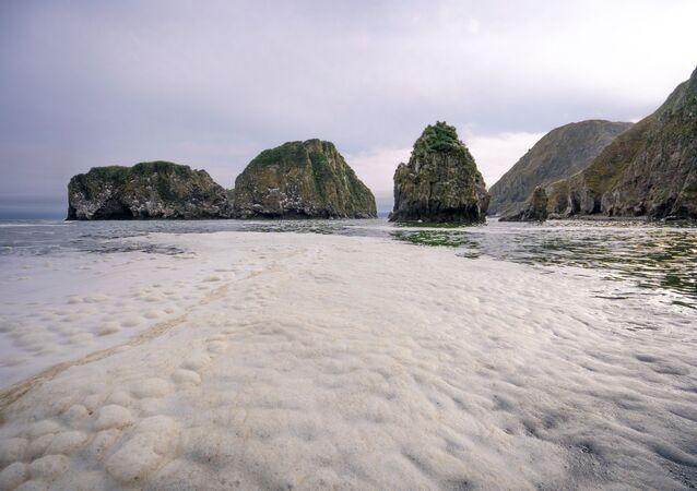 Zanieczyszczona plaża na Kamczatce