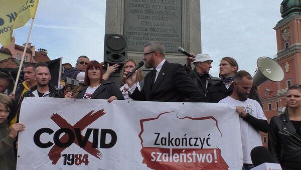 Protesty antycovidowców w Warszawie - Sputnik Polska