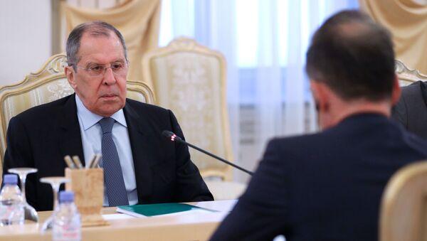 Ministrowie spraw zagranicznych Rosji i Niemiec, Siergiej Ławrow i Heiko Maas, na spotkaniu w Moskwie - Sputnik Polska