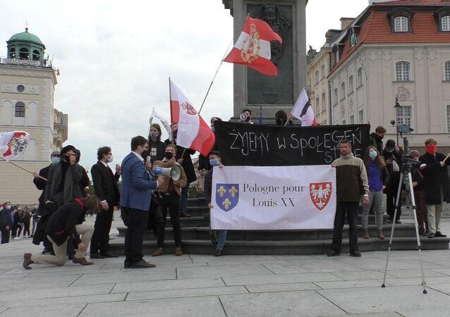 Protest pod kolumną Zygmunta w Warszawie