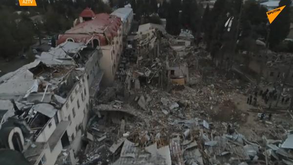 Konsekwencje ostrzału w mieście Gandża - Sputnik Polska