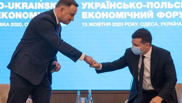 Prezydent Andrzej Duda podczas forum biznesowego w Odessie - Sputnik Polska