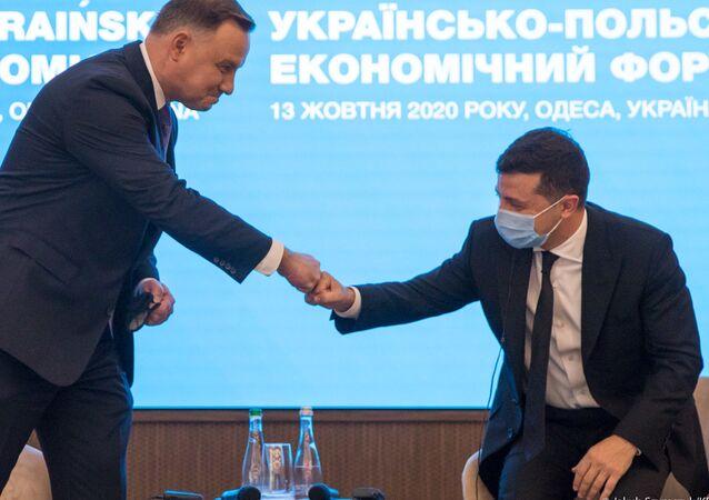 Prezydent Andrzej Duda podczas forum biznesowego w Odessie