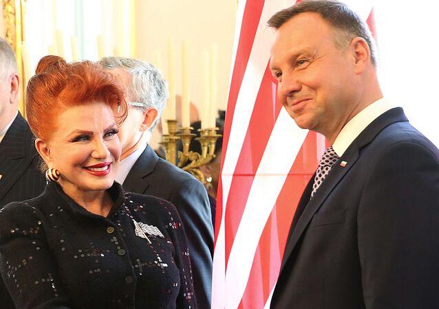 Ambasador USA w Polsce Georgette Mosbacher i polski prezydent Andrzej Duda, 2018 rok