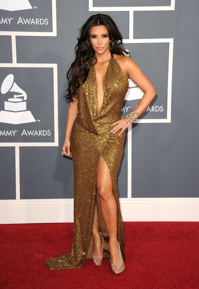 Kim Kardashian podczas 53. dorocznej nagrody Grammy w Los Angeles, 2011 rok