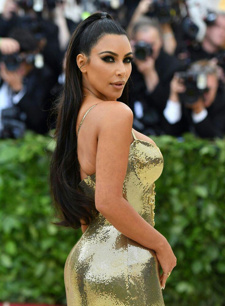 Gwiazda telewizyjna Kim Kardashian na gali Met Gala 2018 w Metropolitan Museum of Art w Nowym Jorku, USA