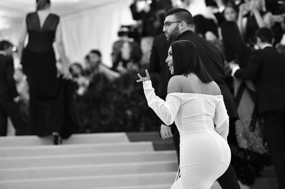 Gwiazda telewizyjna Kim Kardashian na Met Gala-2017 w Metropolitan Museum w Nowym Jorku, USA