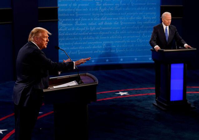 Ostatnia debata między prezydentem USA Donaldem Trumpem i byłym wiceprezydentem Joe Bidenem w Curb Event Center