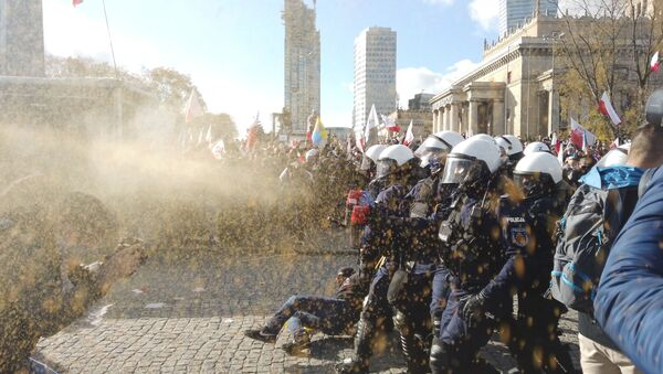 Protest przeciwników obostrzeń antycovidowych w Warszawie - Sputnik Polska