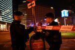Policja na miejscu strzelaniny w Wiedniu.