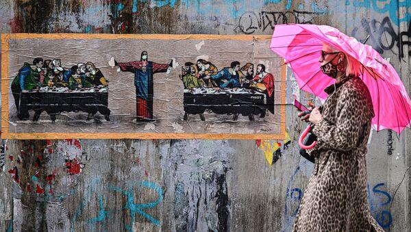 Kobieta w masce, Mediolan - Sputnik Polska